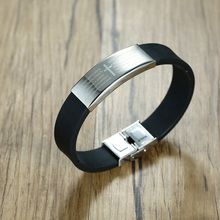 Men's Stainless Steel Religious Black Rubber Silicone Bracelet Lord's Prayer Cross Wristband Bangle for Male Jewelry(China)