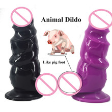 "Buy CHGD 2.95""Thick Big Animal Dildos suction cup silicone dildo ribbed extra stimulate huge anal plug erotic sex toys women"