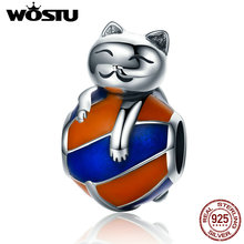 WOSTU Hot Sale 925 Sterling Silver Naughty Cat Beads Fit Original pandora Charm Bracelet Fashion DIY Jewelry Gift CQC161