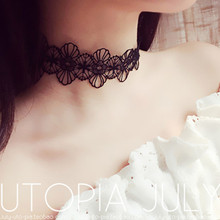 Black Lace Choker Necklaces Women Fashion Punk Gothic Choker Handmade Neck Goth boho Jewelry  X57
