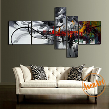 Modern Abstract Oil Painting 5 Piece Hand Painted New York City Oil Picture Unfraned Wall Canvas Art Living Room Home Decoration