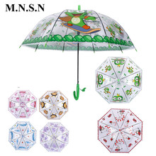 Cute Transparent Animal Cartoon Kids Umbrella Child Semi-automatic Paraguas Frogs Bees Rainproof Umbrella for Boys Girls Gift(China)