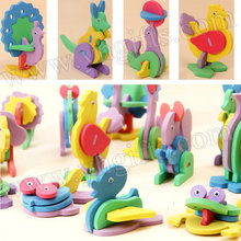 18PCS/LOT,18 design foam animal puzzle,3D puzzle animals,Stereo puzzle,Kids toys,Kids party favor.Birthday gift,Kindergarten toy(China)