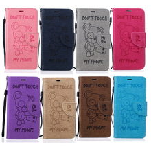 Cute Bear Pattern PU Leather Wallet Flip Case For Samsung Galaxy S5 I9600 / S6 / S6 Edge / S7 / S7 Edge Back Cover +Lanyard