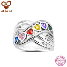 AIJAJA Personalized 925 Sterling Silver Family Heart Stone Mother Rings Customized up to 6 Name Engraved & Birthstones Mom Rings(China)