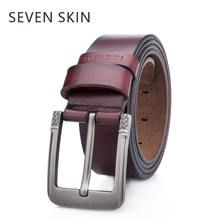 Buy SEVEN SKIN brand 100% genuine leather belt men luxury designer strap male high pin buckle belts jeans ceinture homme for $9.71 in AliExpress store