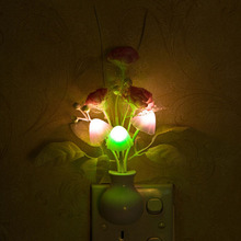 Lovely Colorful LED Mushroom Lilac Flower Night Light Lamp Home Decoration US Plug