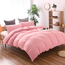 Pink Bedding King Size Duvet Cover Twin Full Queen Chinese Bed Linen Cotton Soft Plain Dyed Bed Cover Sets For Bedroom