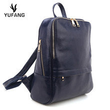 YUFANG Natural Leather Women's Backpack Genuine Leather Travel Bag Female New Designer Laptop Backpack Solid Color School Bag