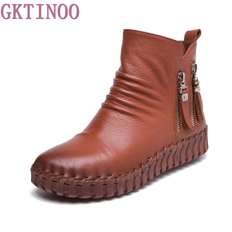 Genuine Leather Short Boots Plus Velet Winter Womens Shoes Handmade Sewing Soft Outsole Lazy Shoes Maternity Shoes Flat Boots<br>