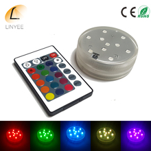 RGB LED Underwater Light Battery Operated Waterproof Swimming Pool Light LED Submersible for Party Piscina Pond+24key control(China)