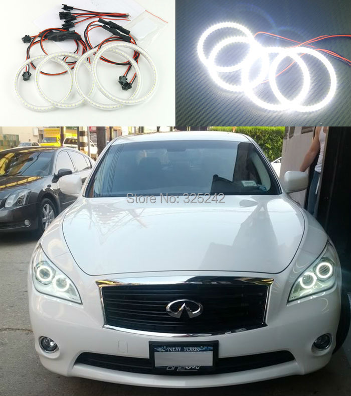 For Infiniti M25 M35 M37 M56 Q70 2011-2014 Excellent angel eyes Ultrabright illumination smd led Angel Eyes Halo Ring kit<br><br>Aliexpress