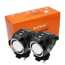 2Pcs/Lot SUNKIA U7 CREE Chip 125w Motorcycle Projector Headlight 3000LM Motorbike Head Fog Lamp Angle Eyes+Devil Eyes