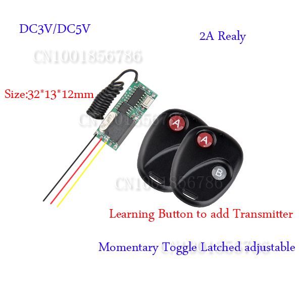 DC3-5V Mini Small Volume Radio Remote Control Switch System 2 Transmitter Receiver 315/433.92MHZ Latched Toggle Momentary Learn<br><br>Aliexpress