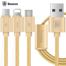 Baseus Series 3 in 1 Charge Cable 1.2M Type-C/Micro USB Data Transfer Quick Charging Nylon Braided Cord for IPHONE SAMSUNG HTC