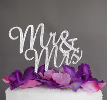 Sparkles Silver Crystal Rhinestone Cake Topper Wedding Monogram Mr & Mrs Cake topper Wedding Keepsake Cake Decors(China)