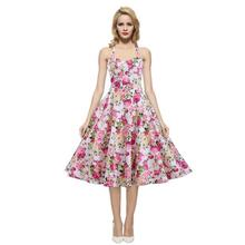Rockabilly Full Floral Summer Cool 100% Cotton Fabric Sexy Halter Dress Muli-color Choice(China)