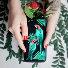 Embroidery bird Case for iPhone 7 7plus Luxo,Funda for iPhone6s plus 6 6s 6splus Famous Brand parrot pu leather Case