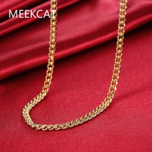 Men's Jewelry 20'' 50cm 7mm High quality 18kgp stamped gold Color necklace solid link chain Colar de Ouro Free Shipping MEEKCAT
