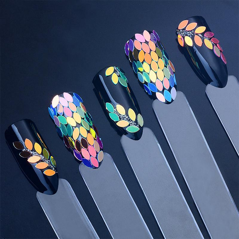 BearPaw Nail Art Decoration Holographic Chameleon Nail Sequins Horse Eye Shaped Dazzling Paillette Flakes Nails Accessories