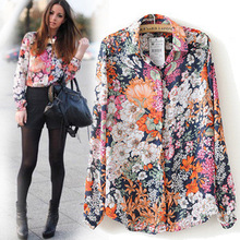 Women Shirts 2017 summer new arrival turn down collar full sleeve print clothing plus size chiffon blouses factory direct 0906