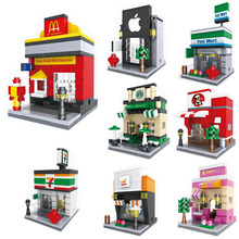 HSANHE Mini Street Retail Store Model Miniature Building Block Scence Architecture Model Toy Supermarket Apple KFCE McDonalds