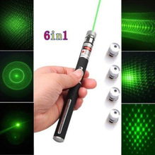 Best selling 5MW 532nm Star Green Laser Pointer With 5 pattern heads visible beam light