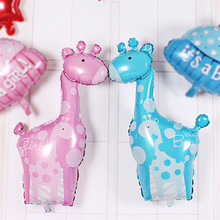 Free Shipping Cheap Giraffe Birthday Party Balloon Animal Pet Foil Balloon for Children Toys Wedding Party Birthday Decoration(China)