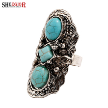 SHEEGIOR Vintage Blue Stone Big Rings for Women Bohemian Punk Retro Silver color Long Ring Men Fashion Jewelry Accessories Gifts