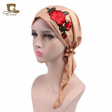 2017 new fashion Rose embroidery stretchy Pre-Tied head Scarf Head wrap scarves Cancer Chemo cap Turban Ladies Turbante(China)