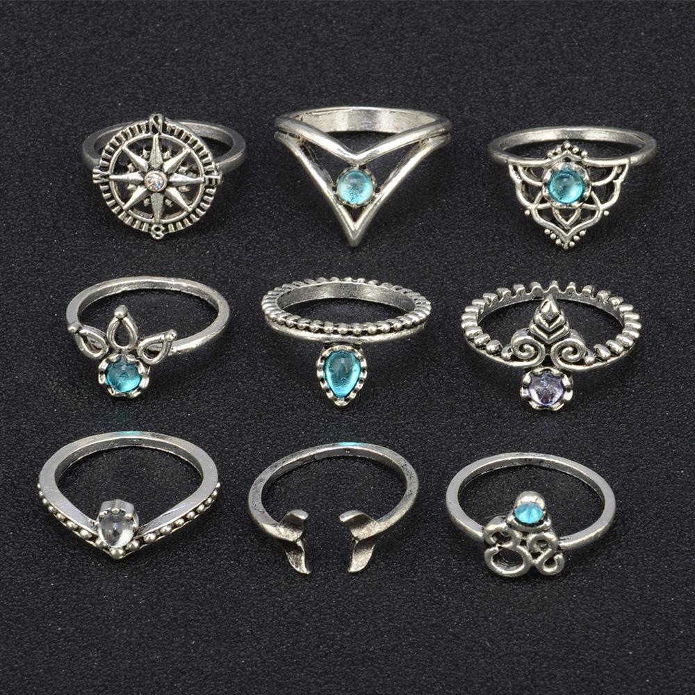 16 Pcs/Set Boho Mermaid Crystal Joint Knuckle Ring Set