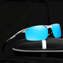 Blue Mirror Polarzied Man Sunglasses Metal Frame Fashion Men's sport Glasses With Box(China)