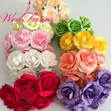144pcs 3.5cm Artificial Mulberry Paper Rose Flower Bouquet For Scrapbooking Hair Wreath Gift Box Party Wedding Decoration