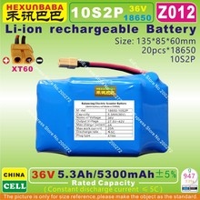 [Z012] 42V,36V / 5300mAh,5.3Ah Li-ion battery ( 18650 * 10S2P ) for 2 Wheel smart self balancing electric Scooter (CHINA CELL )(China)