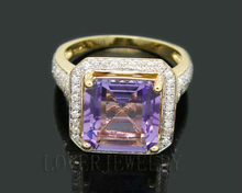 Solid 6.22Ct 14Kt Yellow Gold Diamond Purple Amethyst Engagement Wedding Ring for Wife New Year Fine Jewelry Gift