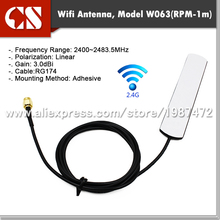 2400MHz WiFi WiMax antenna with RP-SMA male(inner hole)1m cable 1pc free shipping(China)