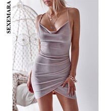 Buy SEXEMARA Halter Backless Glitter Sexy Dresses Party Night Club Dress Lace Bandage Bodycon Mini Dress Vestidos C34-AZ13