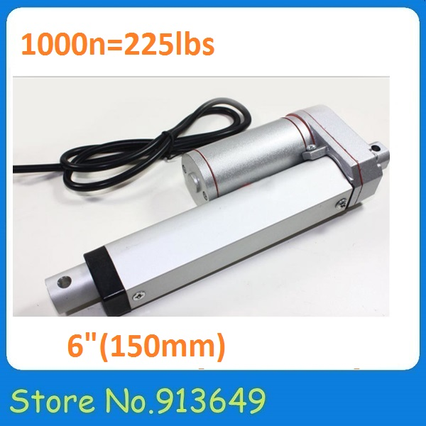 12V linear actuator, 150mm/6 inch stroke DC linear actuator, 1000N/100KG/225LBS thrust force linear motor-1pc<br><br>Aliexpress