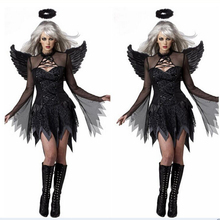 2017new hot sexy lady black explosion halloween dark angel clothing uniform taste game zombie costume ghost bride with the devil