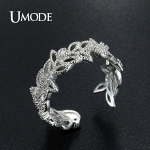 UMODE Brand New Collection Luxury Olive Leaf Design Open Rings for Women High Quality Fashion Jewelry Crystal Anel Gift AUR0374