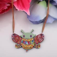 Newei bee necklace acrylic pattern  new pendant accessories   spring summer aniaml colorful girls woman fashion jewelry