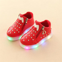 cute kids sneaker shoes crystal led luminous lighted shoes for 1-6yrs kids children child outdoor boys girls sport flat shoes(China)