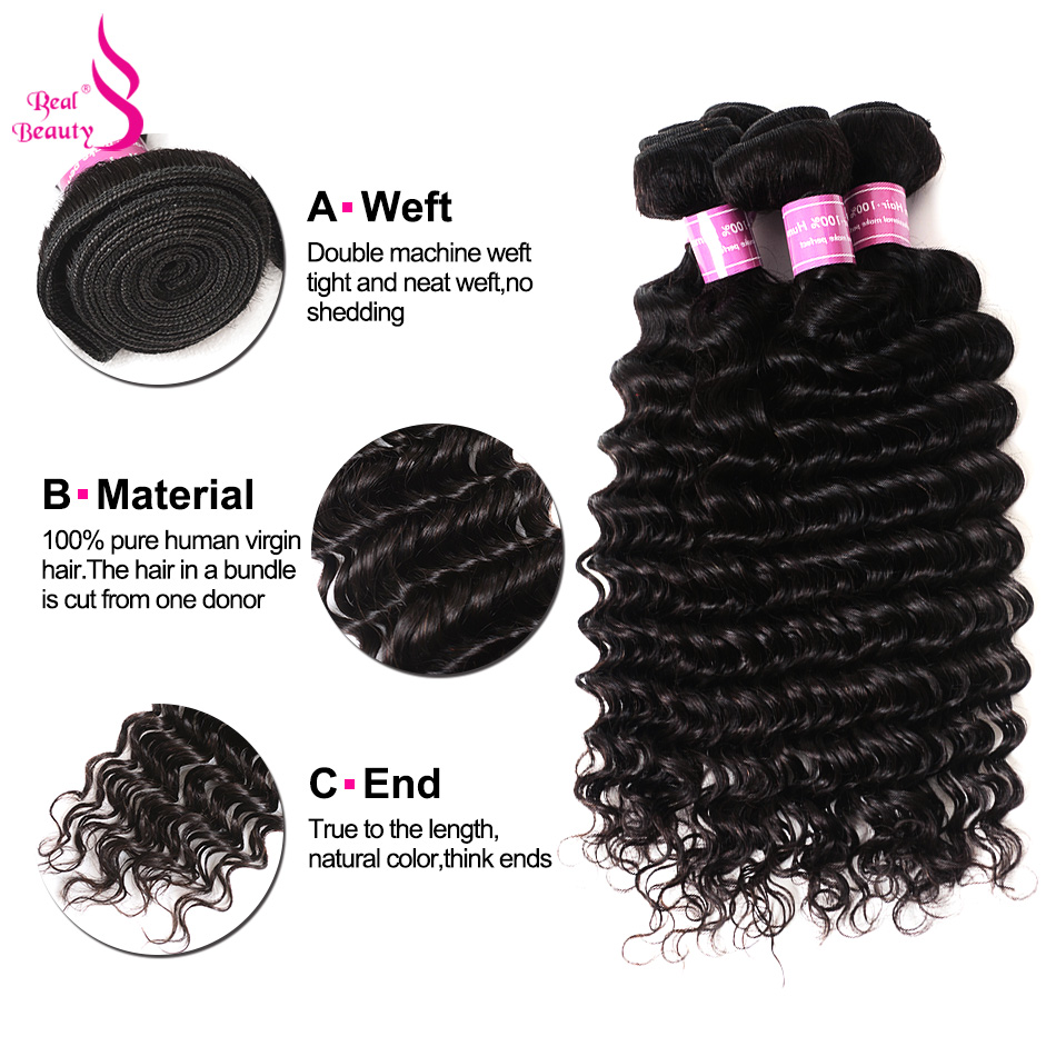 Real Beauty Peruvian Deep Wave Hair With Swiss Lace Closure 4Pcs Human Hair Weaves Remy Hair Bundles With Closure 8-30 (12)