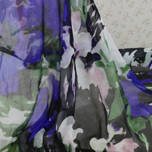Super Deals!Pure Silk Chiffon Crepe Material Large Flowers Silk Fabric For Scarfs(China)