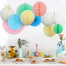 Nicro Baby Shower 11PCS Cream Decoration Paper Flower Ball Paper Fan Flower Hanging Wall Baptism Birthday Party Children's Day(China)