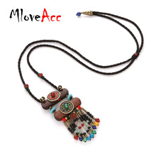 MloveAcc New Boho Long Wood Black Beads Pendant Necklaces for Women Accessory Natural Stone Ethnic Tibetan Bohemians Necklace(China)