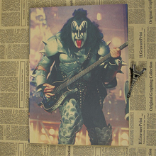 5 Sizes KISS Paul Stanley Nostalgia Retro Rock Band Music Poster Kraft paper wall Brown Bar Cafe living room Posters