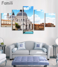 Modern Canvas Painting 5 Pieces Wall Art Italy Venice Landscape Oil Painting Beautiful City River Decorative Picture Home Decor