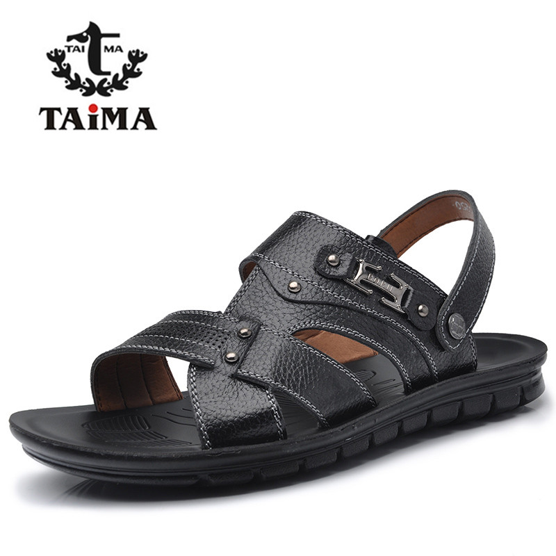 New Arrival Summer Fashion Men Genuine Leather Sandals Classic Breathable Casual Rome Sandals Shoes Men Brand TAIMA 41-47<br><br>Aliexpress