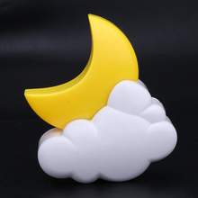 0.5W Moon Shape Wireless Cartoon LED Night light Timing Remote Control Moonlight Lamp for Kids Bedroom Children Gift (Yellow)